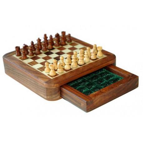 Jeu d'échecs Magnétique Palissandre à Tiroirs - 20cm