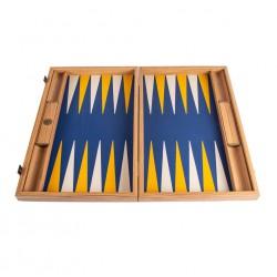 Backgammon Bois et Simili Cuir Royal Bleu 38cm