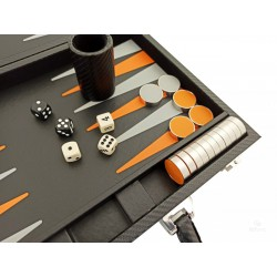 Backgammon Simili Cuir (Noir, Orange et Gris)