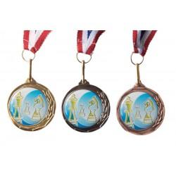 Médaille échecs 32 mm or, argent ou bronze