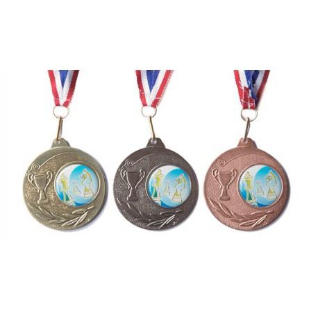 Médaille échecs 50 mm or, argent ou bronze
