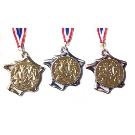 Médaille échecs 70 mm or, argent ou bronze