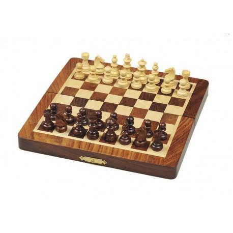 Jeu d'échecs palissandre magnétique pliant 20cm
