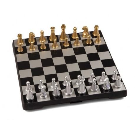 Coffret d'échecs magnétique pliant or et argent - petit modèle