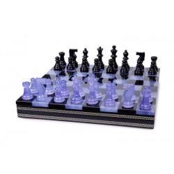 Coffret d'échecs de luxe en albâtre violet