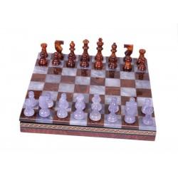 Coffret d'échecs de luxe en albâtre marron et gris
