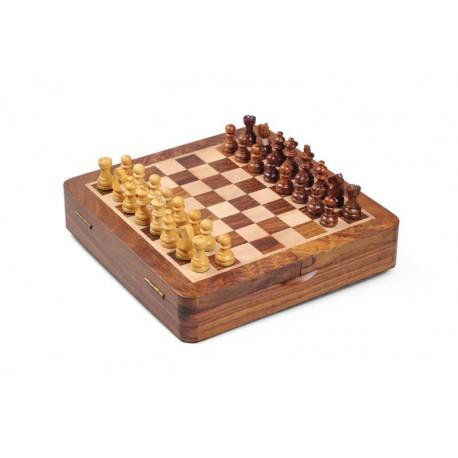 Coffret d'échecs en bois magnétique 27cm