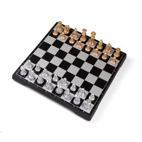 Coffret d'échecs magnétique pliant or et argent - grand modèle