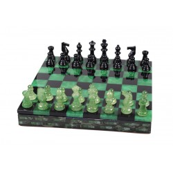Coffret d'échecs Luxe Albatre Vert et Noir 35cm