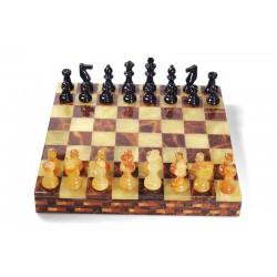 Coffret échecs albâtre jaune et marron