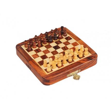 Mini coffret d'échecs en palissandre magnétique pliant