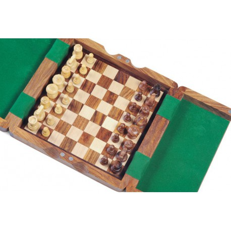 Coffret d'échecs en bois magnétique, pions design