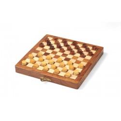 Dames françaises et backgammon magnétique en bois